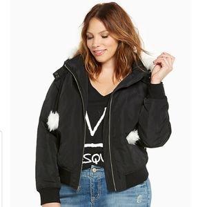Torrid Bomber Jacket with Faux Fur Hood